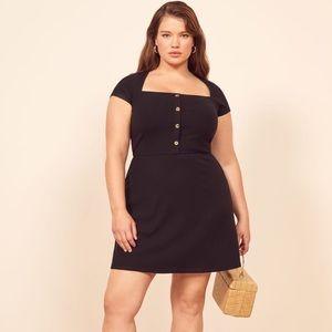 Reformation Lizzy ES Black Fit N Flare Dress